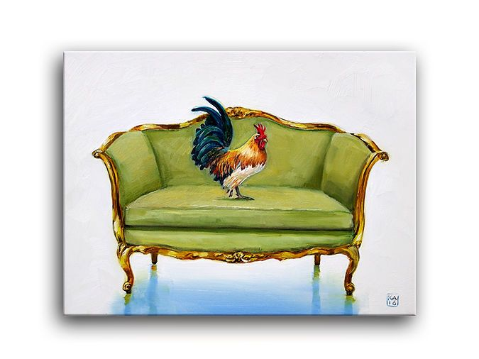 French Rooster Chicken Fowl Bird, Loveseat Chair, Daily Oil Painting,  Applegate