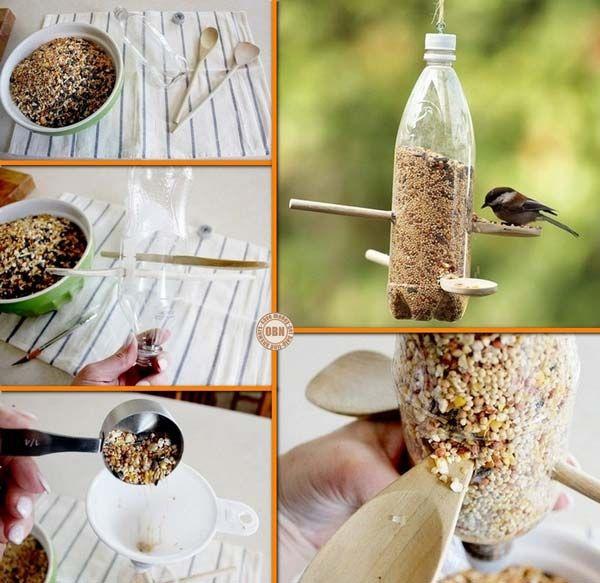 PET lahev jako krmítko pro drobné ptactvo