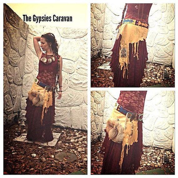 Flor de la Luna     elk yellow wrap skirt by thegypsiescaravan, $280.00