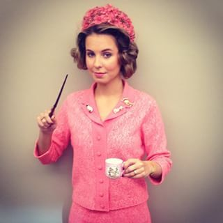 Dolores Umbridge | 31 Alternative Harry Potter Halloween Costume Ideas-My friend dressed up friend dressed up as Dolores Umbridge too.