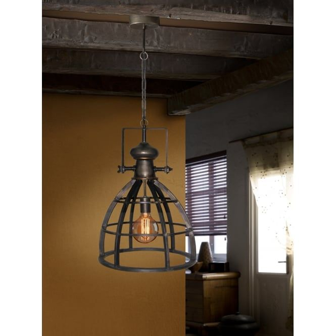 Industrial Iron Cage Ceiling Pendant Lamp With An Led Light Bulb And Rustic Styling Ideas4lighting Pendant Ceiling Lamp Rustic Pendant Lighting Ceiling Lights