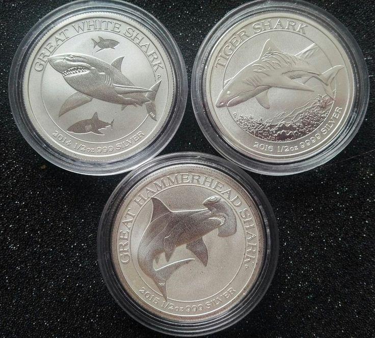 3 Coin Set, .999 Pure Silver, .5oz Each: Tiger; Great White; & Hammerhead Sharks | eBay