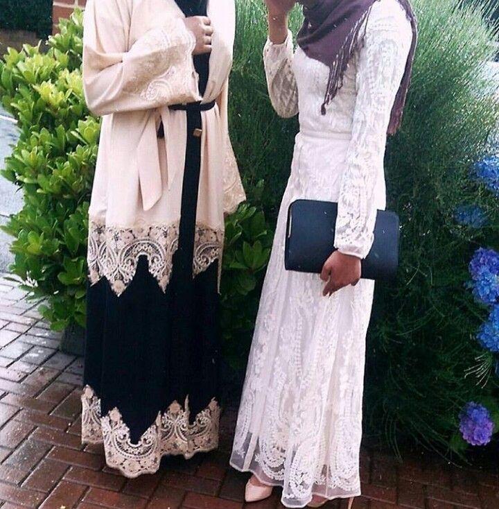White lace dress and awsome auberigne hijab