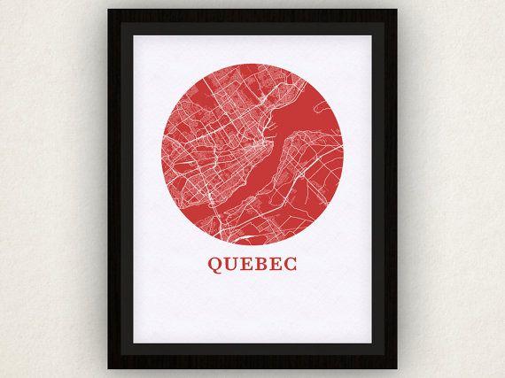 Quebec carte Estampe  ville carte affiche par OMaps sur Etsy