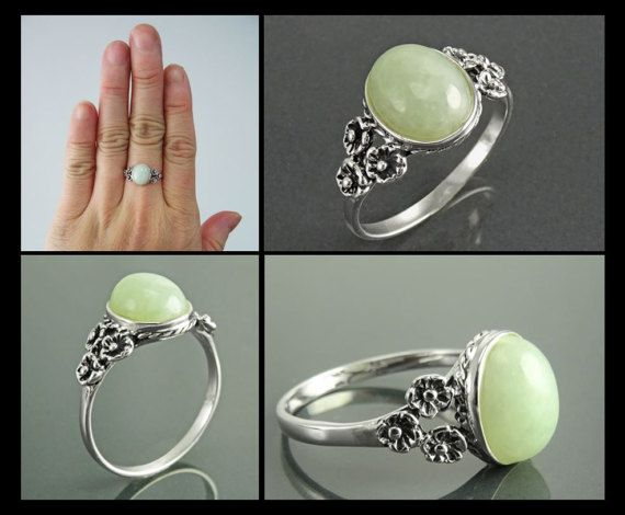 This Gorgeous small Jade Ring features a Boho Studded Pattern around the Genuine Light Green Jade Cabochon. The Border is lightly oxidized to show details and looks lovely with the Green Jade. The Stone is : 10 mm length and 8 mm width Average silver weight : 2 gr. ►INTERNATIONAL SHIPPING :
