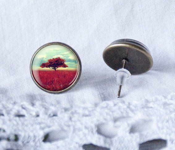 Oorknopjes - Tree of Life earrings studs, tree, studs, - Een uniek product van…