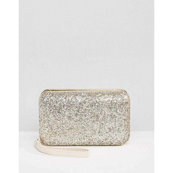 Carvela Glitter Box Clutch (1 420 UAH) ❤ liked on Polyvore featuring bags, handbags, clutches, gold, glitter handbag, embellished handbags, embellished purses, glitter clutches and white box clutch