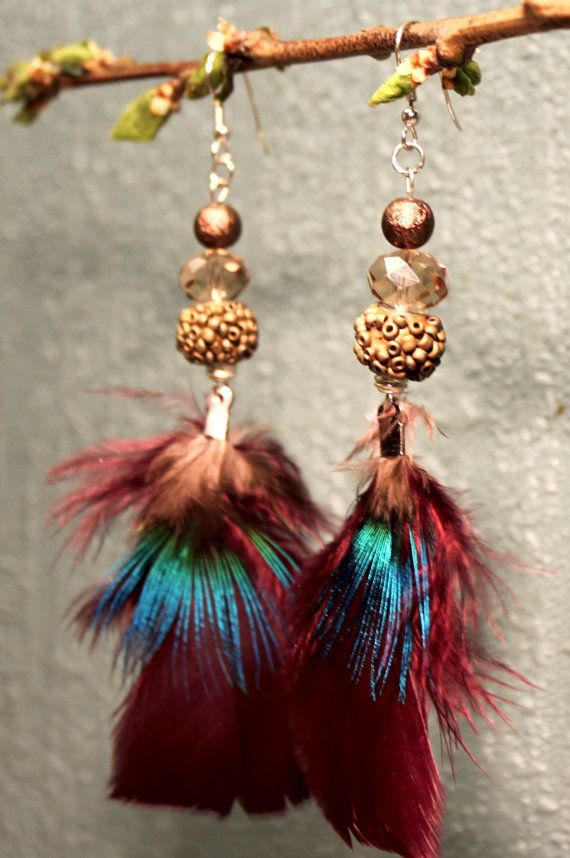 Iridescent turkey and peacock feather earrings