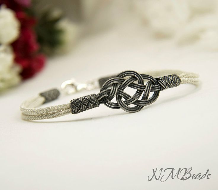 Fine+Silver+Celtic+Love+Knot+Bracelet+in+Black+by+NMBeadsJewelry,+$74.00