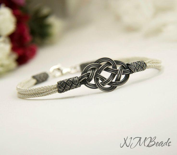 Fine+Silver+Celtic+Love+Knot+Bracelet+in+Black+by+NMBeadsJewelry,+$74.00