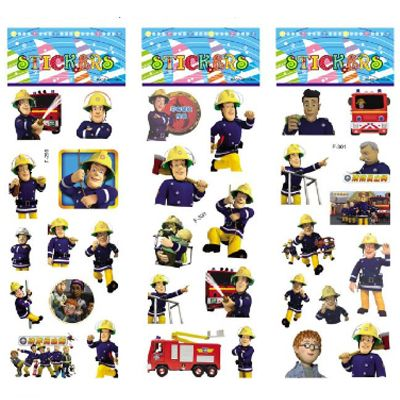 3 lembar/set Fireman Sam stiker untuk anak-anak Rumah dekorasi dinding pada laptop lucu kartun mini 3D foam sticker decal kulkas doodle