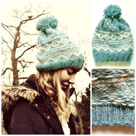 PDF Knitting Pattern - Nordic - Icelandic Wool Hat Pattern - Bobble Hat - Unisex…