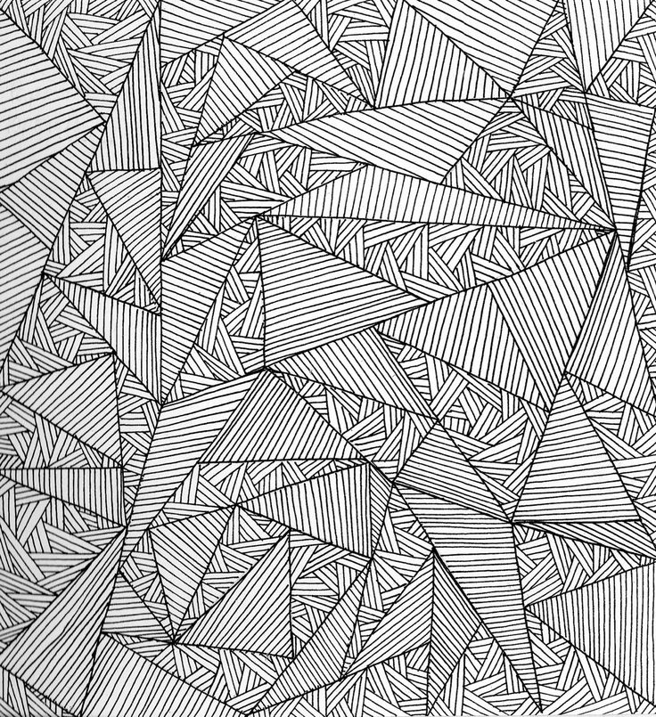 Geometric Pattern - fine line pen drawing with graphic triangle pattern