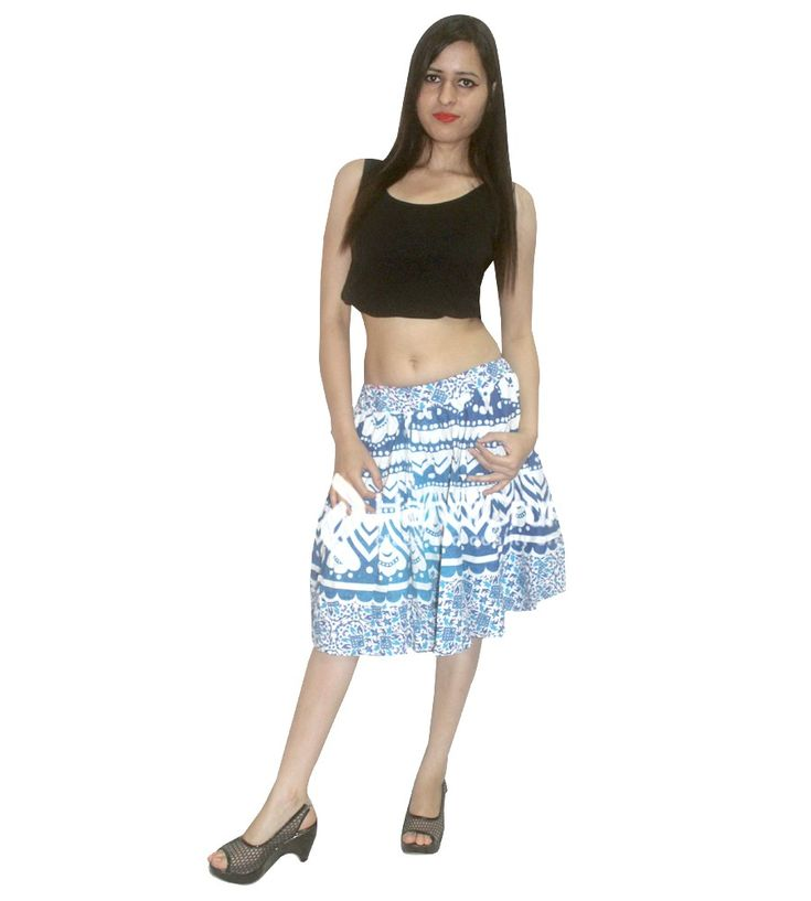 White and blue color girls skirts with mandala designed