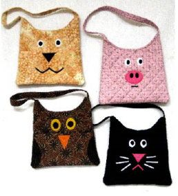 Purse-animality Quilted child's purse - Make a cat, dog, pig, or owl purse for your favorite little girl