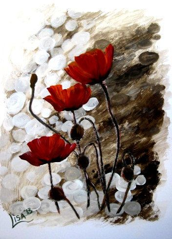 Original Watercolor Painting  Poppies   by ArtonlineGallery, $115.00