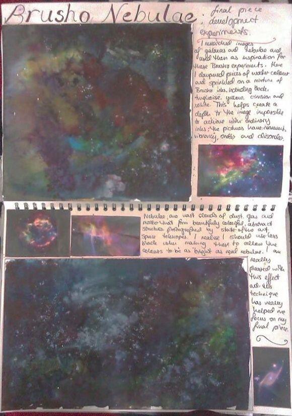 Brusho 'nebulae' experiments