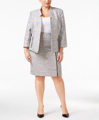 Kasper Plus Size Tweed Blazer & Pencil Skirt