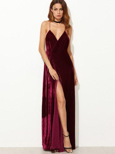 Shein Burgundy Strappy Backless Velvet Wrap Dress
