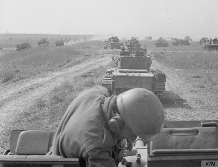 THE POLISH ARMY IN THE NORMANDY CAMPAIGN, 1944 - A column of Cromwell tanks of the 10th Mounted Rifles Regiment (1st Polish Armoured Division) moving towards enemy positions at the beginning of the Operation 'Totalise', south of Caen, 8 August 1944.