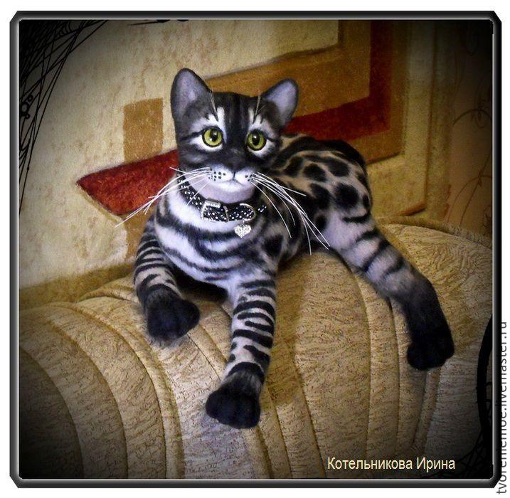 Купить Бенгальский котик. игрушка из шерсти и ниток мохер. - чёрно-белый, бенгальский кот, котенок
