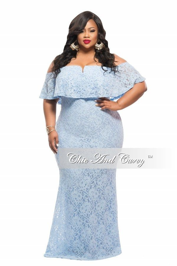 Plus Size BodyCon Long Off the Shoulder Lace Dress in Blue - Chic And Curvy