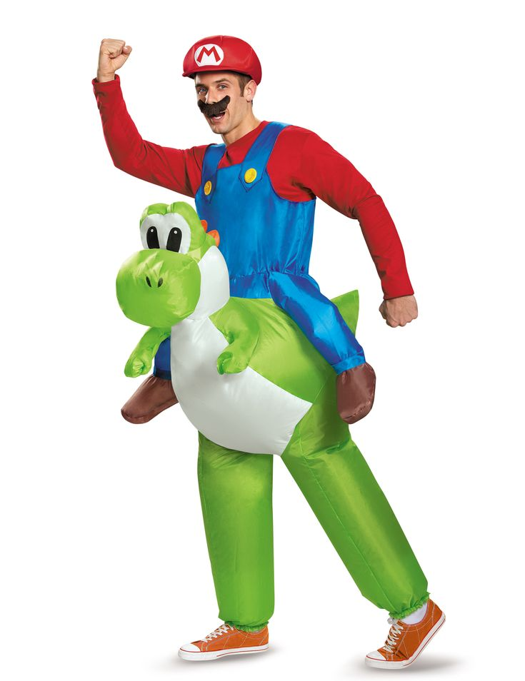 Carry Me Yoshi Nintendo® Costume for Adults: This inflatable carry me costume is under the official licence of Nintendo® (hat, moustache and jumper not included).In this costume, you will depict Mario riding on Yoshis back.