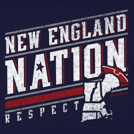 New England Nation T-Shirt From Chowdaheadz. Comes in crew neck, ladies v-neck & long sleeve