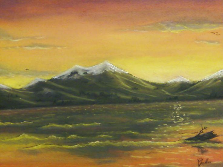 """""""Diamond Lake"""" by E. Meehan Chalk pastel"""