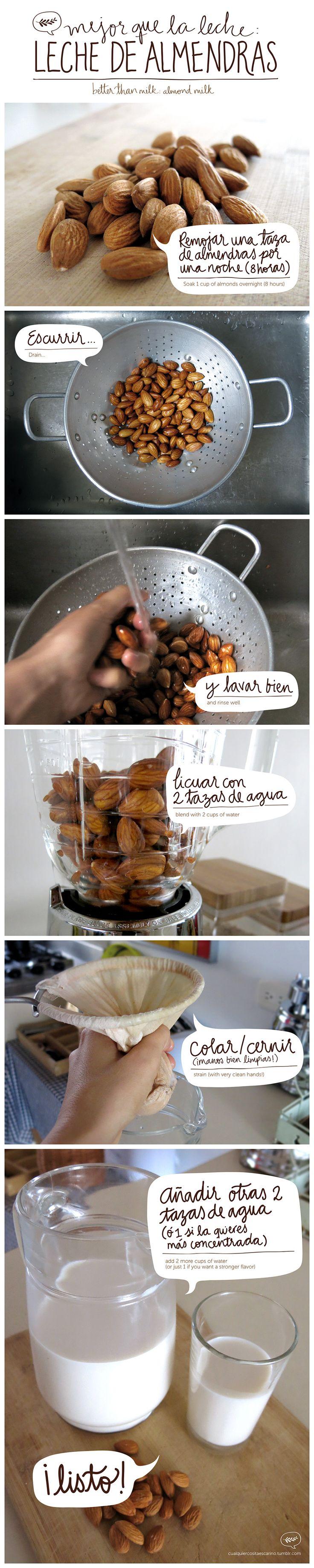 Como hacer leche de almendras #saludable #snack