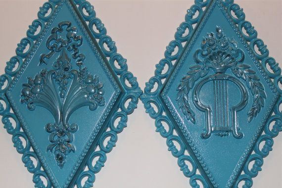 Victorian Vintage wall decor set //  Turquoise wall by AquaXpressions,
