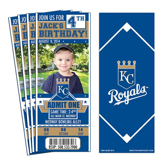 12 Kansas City Royals Birthday Party Ticket by ThatsMyTicket