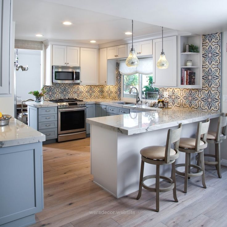 Colorful Kitchen design with blues, grays and white featuring 2-tone gray and wh… Colorful Kitchen design with blues, grays and white featuring 2-tone gray and white cabinets with Dura Supreme Cabinetry. http://www.wersdecor.website/2017/05/03/colorful-kitchen-design-with-blues-grays-and-white-featuring-2-tone-gray-and-wh/