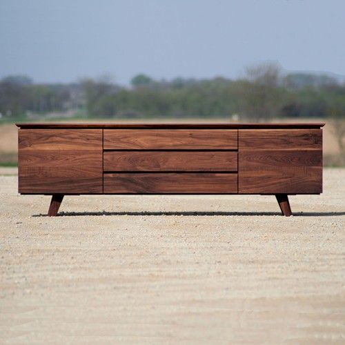 Modern Credenza in Solid Natural Walnut.