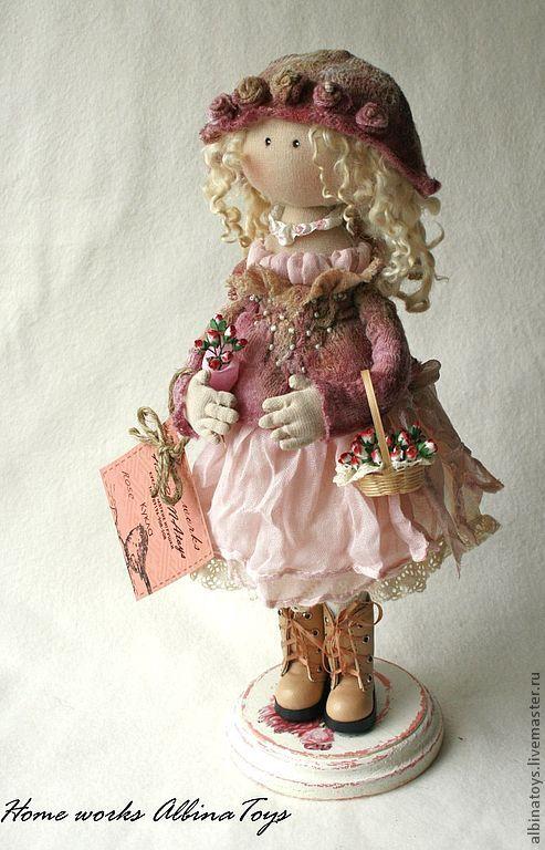 Купить Коллекционная текстильная кукла Rose в розово- сиреневыхтонах. - бледно-розовый, розовый, бежевый, кукла