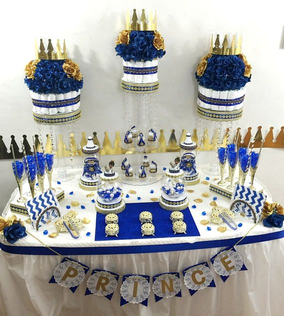 ROYAL BLUE and GOLD Baby Shower Candy Buffet Diaper Cake Centerpiece with Royal Prince Baby Shower Favors / Little Prince Theme Decorations