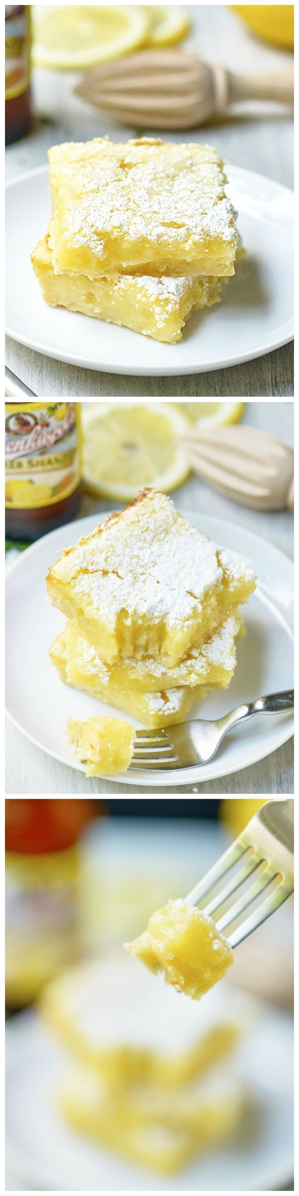 Summer Shandy Lemon Bars - a perfectly sweet, buttery shortbread topped with an ooey, gooey, lemon filling!
