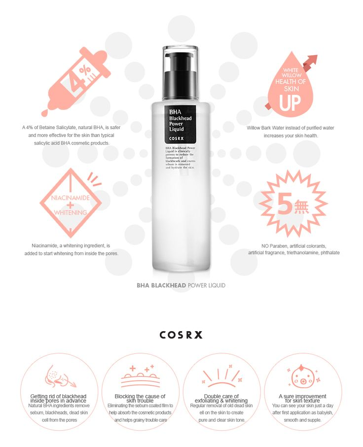 "COSRX BHA BLACKHEAD POWER LIQUID 100 ML         Features        ""Trouble and blackheads don't look for any particular skin types.""  BHA Blackhead Power Liquid gets rid of dead skin cell and blackhead within the pores and prevents oxidi"