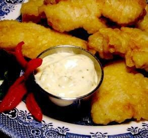 Long John Silver Fish Batter  3/4 cup flour 2 tablespoons cornstarch 1/4 teaspoon baking soda 1/4 teaspoon baking powder 1/4 teaspoon salt 3/4 cup water  Directions:   Sift dry ingredients.  Add water and mix well.  Use to coat fish or chicken filets.  Cover the fish completely.  Deep fry until a nice golden brown.