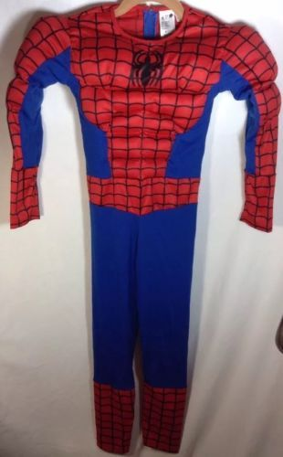 "Spiderman Halloween Costume (6-8) Youth Marvel Muscle Chest One Piece 43"" Length"