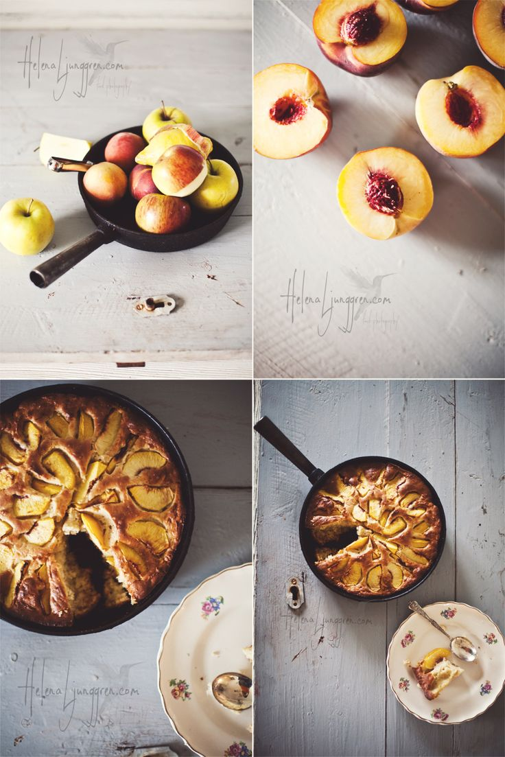 peach skillet cake love how the pictures go from start to finish, bt without all the messy in-between pictures! must try this