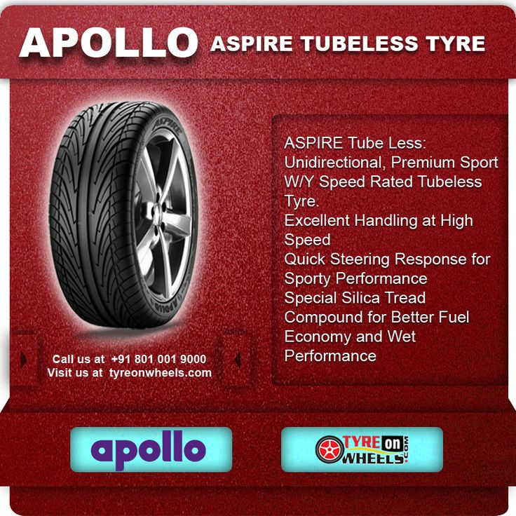 Buy Online APOLLO ASPIRE Tubeless Tyres & get fitted with Mobile Tyre fitting Vans at your doorstep at Guaranteed Low Prices call us +91 801 001 9000 or visit us at http://www.tyreonwheels.com/Tyre/brand/carTyreBrands.php?brand=Apollo