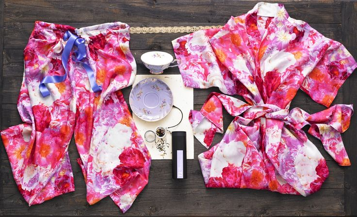 Rise and Shine Gift Hamper - Mrs Darcy's Bed of Peonies Silk Robe, Mrs Darcy's Bed of Peonies Silk Lounge Pants, T2 Afternoon tea cup and saucer, T2 Lux French Earl Grey 80g, T2 teapot infuser