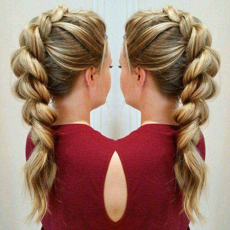 Pull through braid - Mohawk updo. @sarahtheblowoutbar  - instagram