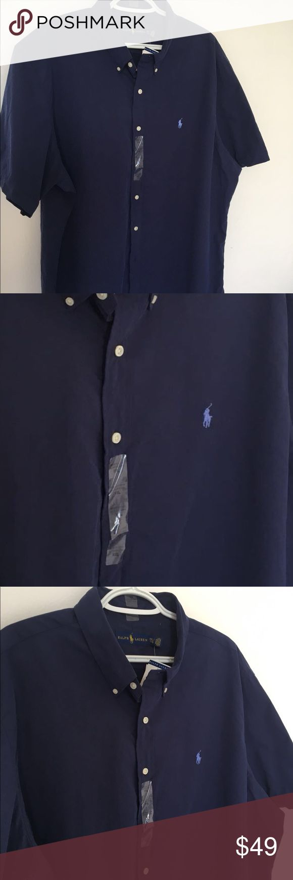 Ralp Lauren Navy Blue Burton down short sleeve Brand Mew With tags Ralp Lauren Navy Blue Burton down. Very comfortable and classy shirt for all those special occasions. Polo by Ralph Lauren Shirts Casual Button Down Shirts