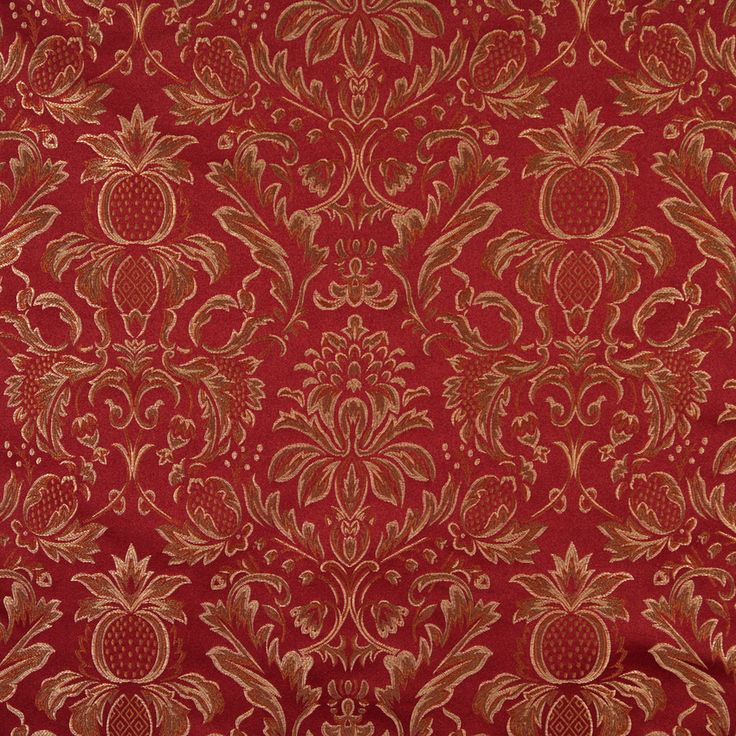 Wine Burgundy and Gold Heirloom Damask Upholstery Fabric