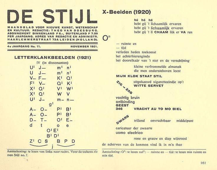 (1921)  Revista De Stijl, Letterklankbeelden, proyecto gráfico de Theo van Doesburg (con el pseudónimo I.K. Bonset)