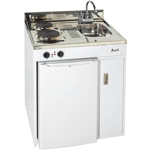 avanti 30 inch complete compact kitchen with refrigerator white - Compact Kitchen Sink