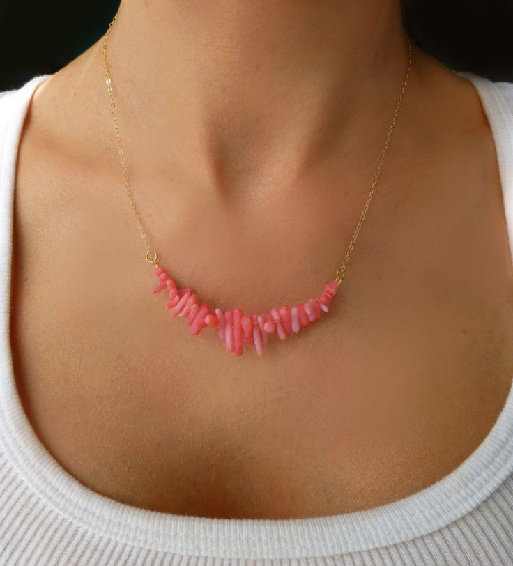 Pink Coral Necklace - Coral Strand Necklace - Sterling Silver or 14k Gold Coral Beach Necklace -  Bridesmaid Necklace - Beaded Coral Jewelry. $42.00, via Etsy.