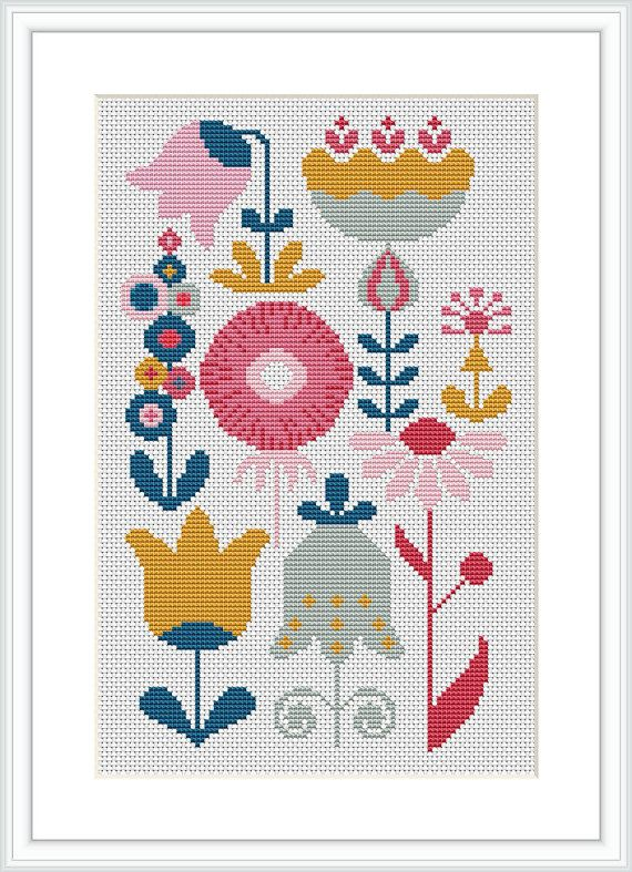 Retro Flower Modern cross stitch pattern PDF Mid century modern Cross stitch for girl's roomX043